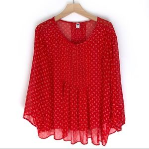 Old Navy Flower Print Peasant Red Top Size XXL